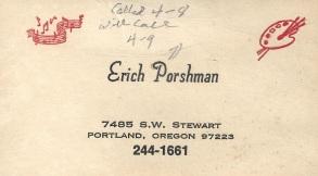 Erich Porshman calling card