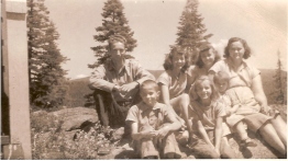 Jack Steele's six siblings. Donald, Joyce, June, mother Charity. Front: Bruce, Wanda, Crystal Steele. Courtesy Jack Steele. See post.