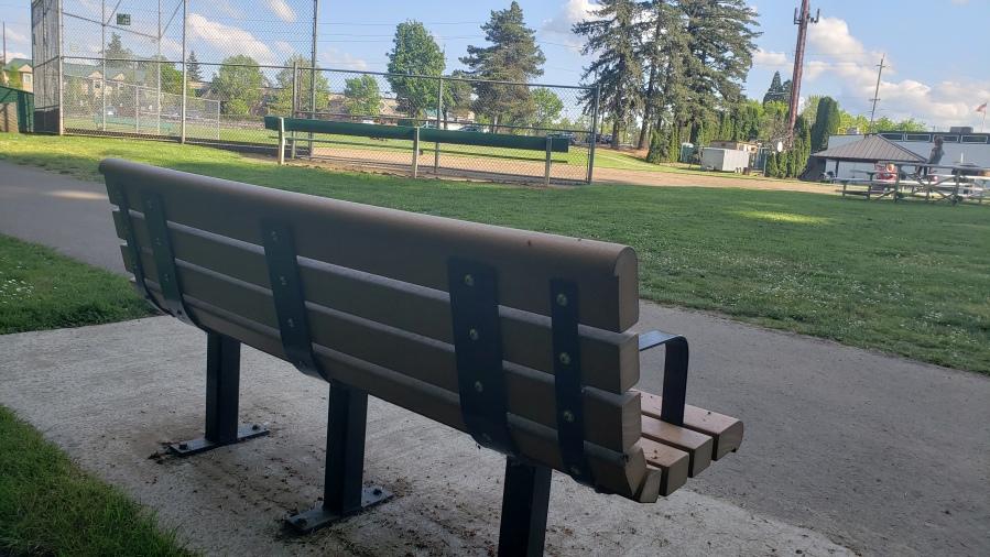Steve Mapes memorial bench from rear - near the baseball diamond at the Garden Home Recreation Center