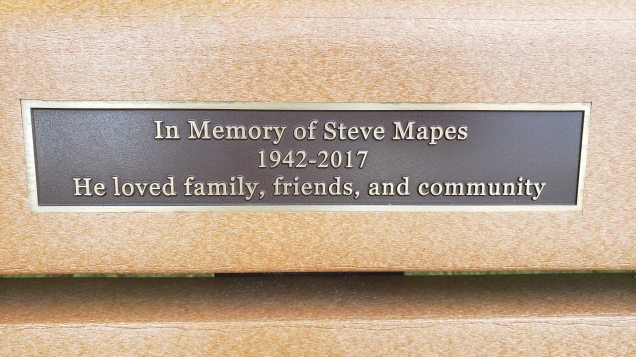 Steve Mapes memorial bench inscription - near the baseball diamond at the Garden Home Recreation Center