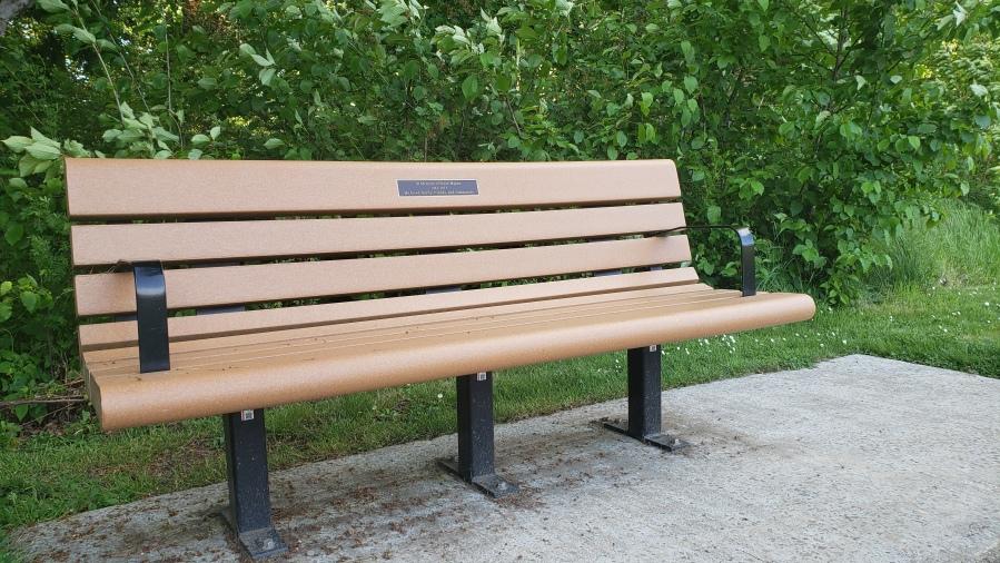 Steve Mapes memorial bench - near the baseball diamond at the Garden Home Recreation Center