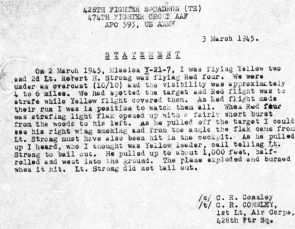 1st Lt. C. R. Connely statement about 2nd Lt. Robert H. Strong's final mission