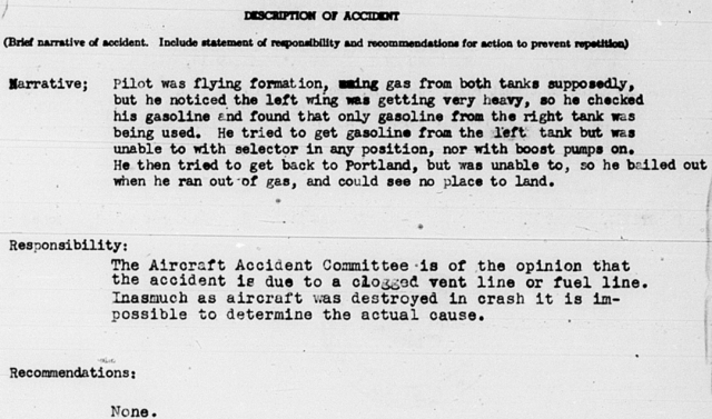 Findings of the Aircraft Accident Committee