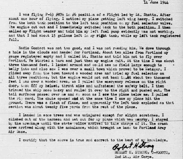 2nd. Lt. Strong's report