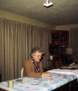 Thelma Shirley working on a quilt