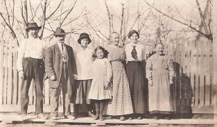 Andreas Von Bergen, cousin Caspar Baumgarten, Ida, Frieda, Grandma Magdelana, Elsie and Great Grandmother Von Bergen (vintage photo)
