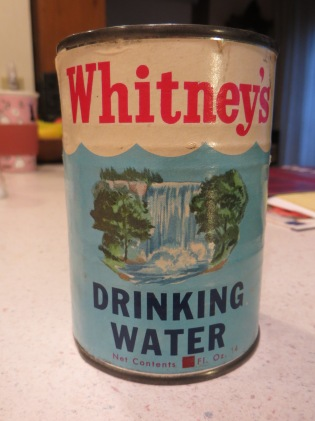 Whitney's canned water - front