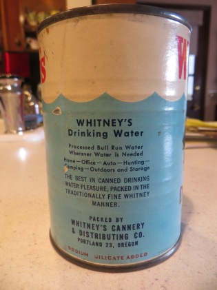 Whitney's canned water - rear