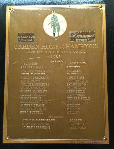 Garden Home Champions, Washington County League, 1935