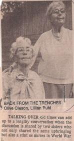 Olive and Lillian Oleson, WWI nurses