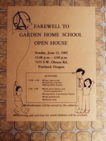 1982 Final day of Garden Home School - Farewell poster