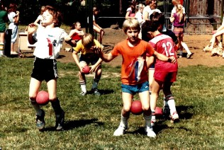 1982 Final day of Garden Home School - Field Day event with kids carrying balls between their knees