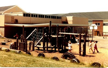 1982 Final day of Garden Home School - playground structure