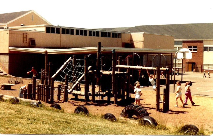 1982 Final day of Garden Home School - playground structure