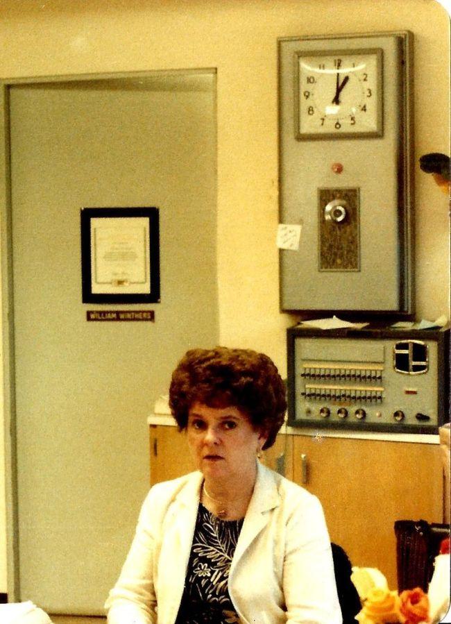 1982 Final day of Garden Home School - Mary Landers, School Secretary