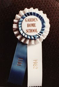 1982 Final day of Garden Home School - ribbon 1911-1982