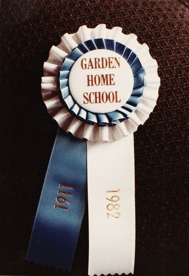 1982 Final day of Garden Home School - ribbon 1911-1982