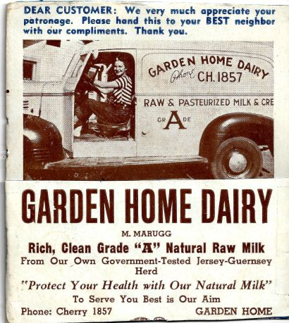 Give-away blotter for Garden Home Dairy (aka the Marugg dairy).