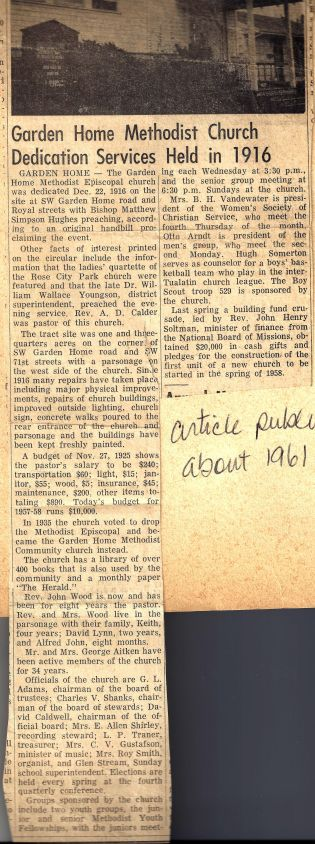 Community Church - Oregonian article about history of church 1961
