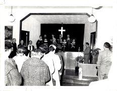 Community Church service, ladies hats, circa 1950s