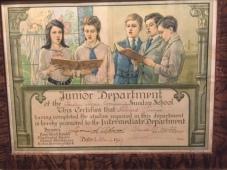 Community Church - Sunday School certificate