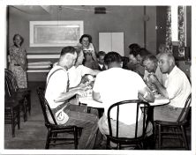 Community Church - work party with Ken Dixon on left and Dorothy Wood standing, circa 1950s