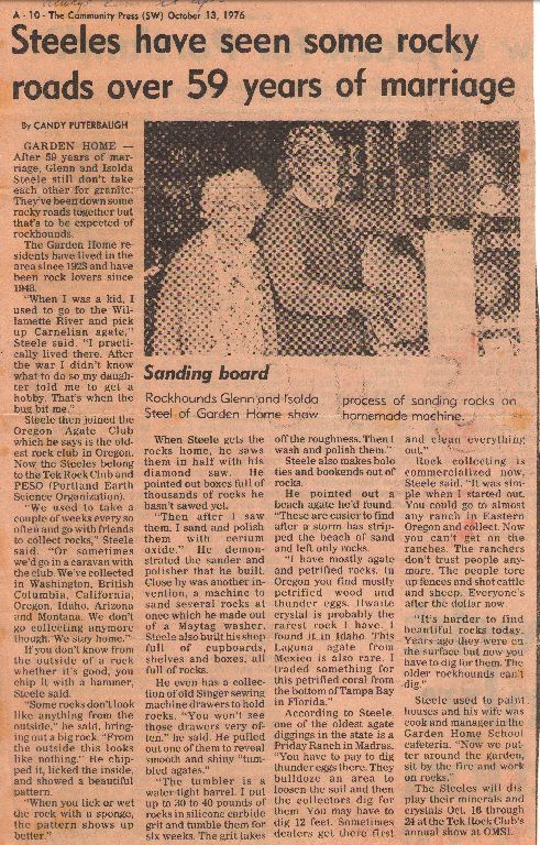 1976 Community Press article about Glenn and Isolda Steele
