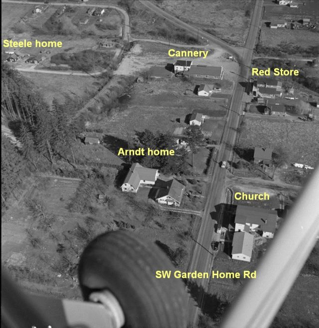 Aerial photo by Otto Arndt shows Glenn and Isolda_s home and cannery where Barry worked