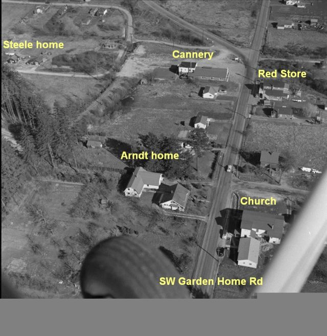 Aerial photo by Otto Arndt shows Glenn and Isolda's home and cannery where Barry worked. Circa mid 1950s.
