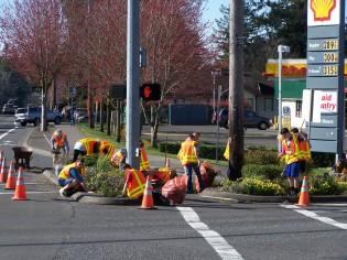 Garden Home Gardeners working in Garden Home intersection, 2015