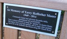 Terry Moore memorial bench inscription at SW 80th Ave and SW Garden Home Rd