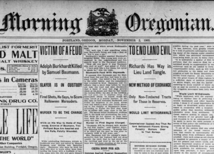 Front page of the Nov 2, 1903 Oregonian