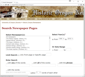 University of Oregon newspaper archive