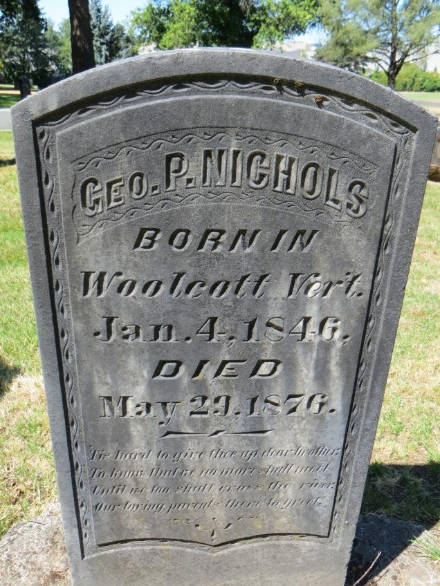 Tombstone of George Nichols, brother of LH Nichols
