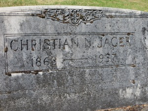 Tombstone of Christian Jager at Cresenct Grove Cemetery
