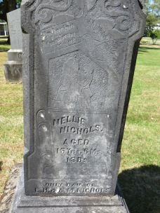 Tombstone of Nellie Nichols, only daughter of LH and AM Nichols