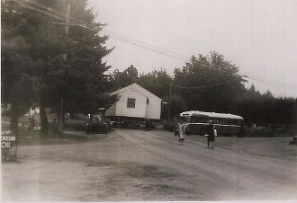 Krom house being moved (note also the Blue Bus)