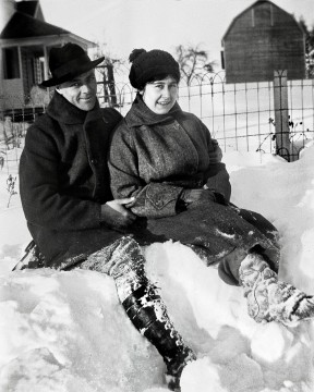 Melvin, Violet Ady Replogle in snow, 1920s