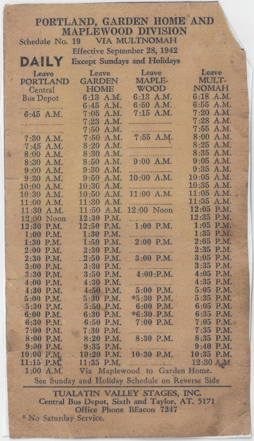 Tualatin Valley Stages schedule 1942 - Daily