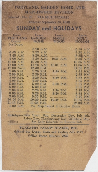 Tualatin Valley Stages schedule 1942 - Sundays and Holidays