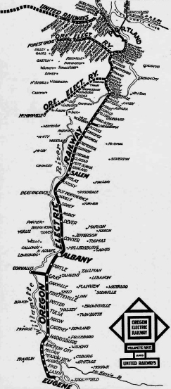 1914 system map for Oregon Electric Railway