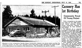 Garden Home Co-op Cannery - Sunday Oregonian July 15 1945