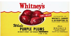Whitney's Cannery whole purple plums label