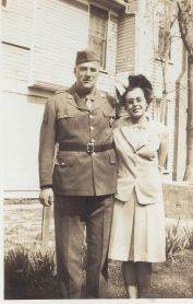 Fred (Fritz) Gertsch Jr. marries Olive Philena Wolfe 1943. Fred in WWII