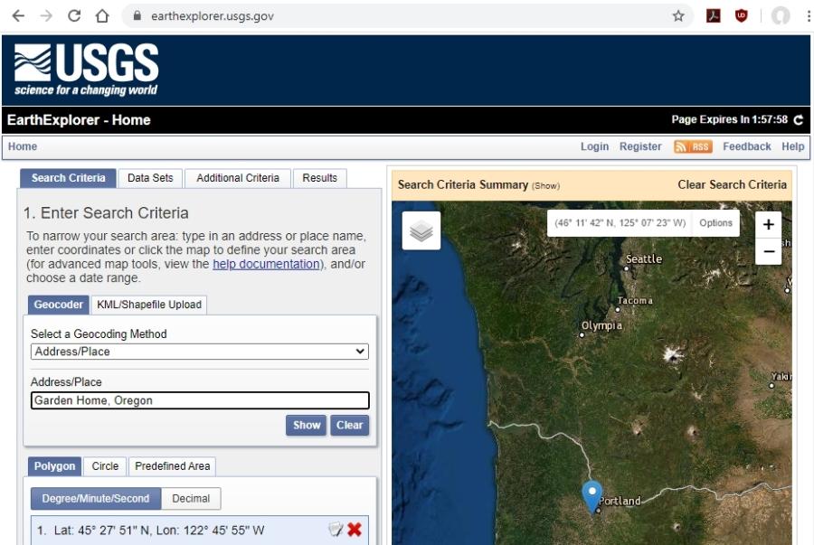 1 - enter address - USGS EarthExplorer.usgs.gov