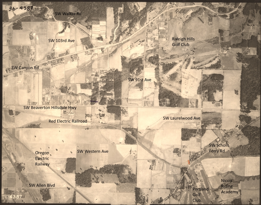 Portland Golf Club and Nicols Riding Academy - 1936 Army Corps of Engineers aerial photo (annotated)