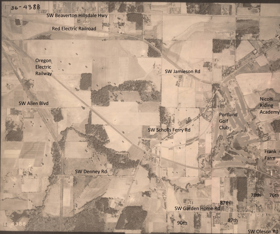 NW above Garden Home Rd - 1936 Army Corps of Engineers aerial photo (annotated)
