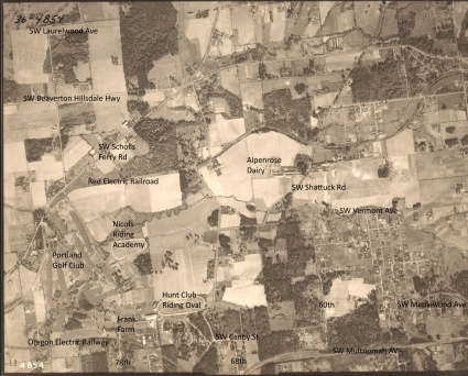 Portland Golf Club to SW Maplewood Ave and Alpenrose Dairy - 1936 Army Corps of Engineers aerial photo (annotated)