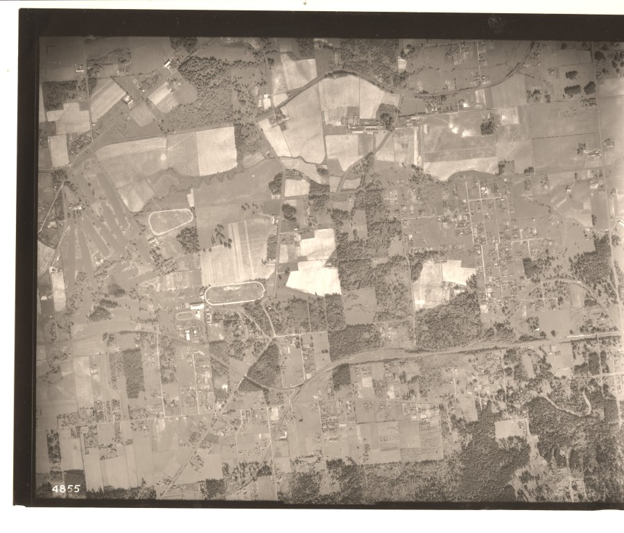 SW Garden Home intersection and train station - 1936 Army Corps of Engineers aerial photo