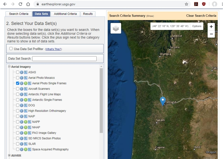4 - select Aerial Imagery, Aerial Photo Single Frames - USGS EarthExplorer.usgs.gov